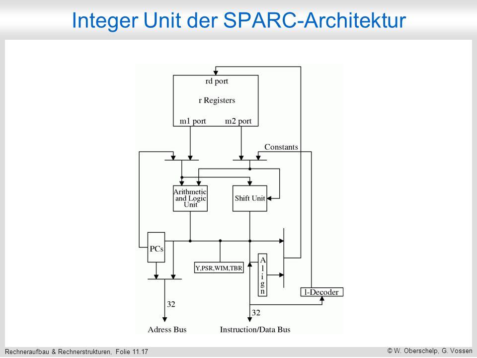 Rechneraufbau & Rechnerstrukturen, Folie 11.17 © W. Oberschelp, G. Vossen Integer Unit der SPARC-Architektur