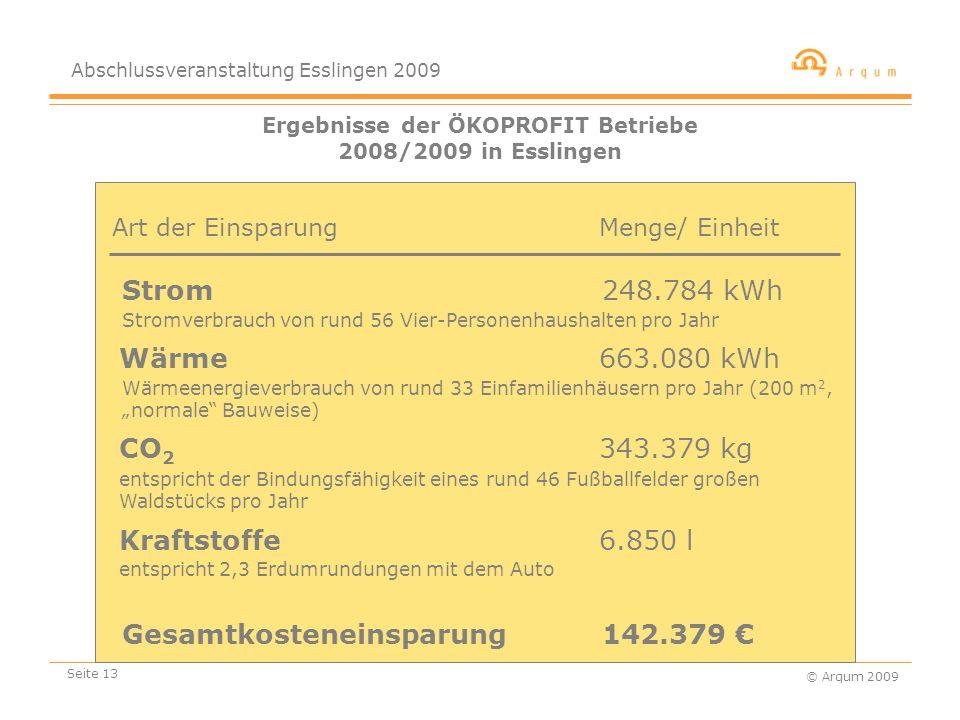 """Abschlussveranstaltung Esslingen 2009 © Arqum 2009 Seite 13 Ergebnisse der ÖKOPROFIT Betriebe 2008/2009 in Esslingen Strom 248.784 kWh Menge/ Einheit CO 2 343.379 kg Gesamtkosteneinsparung 142.379 € Wärme 663.080 kWh Kraftstoffe 6.850 l Art der Einsparung Stromverbrauch von rund 56 Vier-Personenhaushalten pro Jahr Wärmeenergieverbrauch von rund 33 Einfamilienhäusern pro Jahr (200 m 2, """"normale Bauweise) entspricht der Bindungsfähigkeit eines rund 46 Fußballfelder großen Waldstücks pro Jahr entspricht 2,3 Erdumrundungen mit dem Auto"""