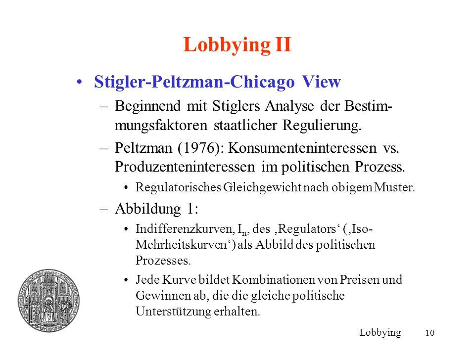 10 Lobbying II Stigler-Peltzman-Chicago View –Beginnend mit Stiglers Analyse der Bestim- mungsfaktoren staatlicher Regulierung. –Peltzman (1976): Kons