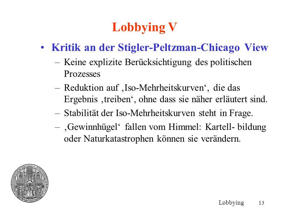 13 Lobbying V Kritik an der Stigler-Peltzman-Chicago View –Keine explizite Berücksichtigung des politischen Prozesses –Reduktion auf 'Iso-Mehrheitskur