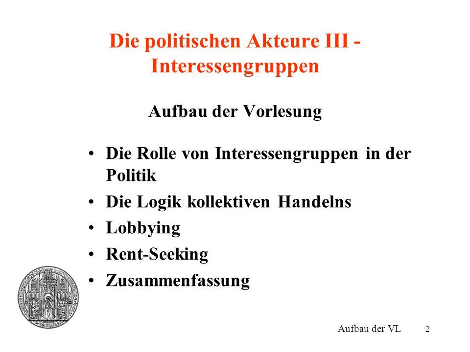 3 Die Rolle von Interessengruppen I Aggregation von Interessen –Die Wähler/Stimmbürger organisieren sich in Interessengruppen (und Parteien), um ihre Präferenzen im politischen Prozess zu äußern.