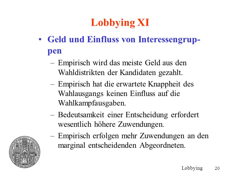 20 Lobbying XI Geld und Einfluss von Interessengrup- pen –Empirisch wird das meiste Geld aus den Wahldistrikten der Kandidaten gezahlt. –Empirisch hat