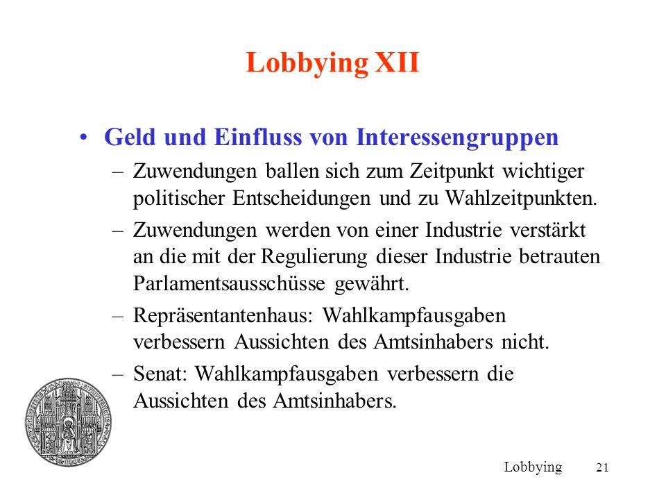 21 Lobbying XII Geld und Einfluss von Interessengruppen –Zuwendungen ballen sich zum Zeitpunkt wichtiger politischer Entscheidungen und zu Wahlzeitpun