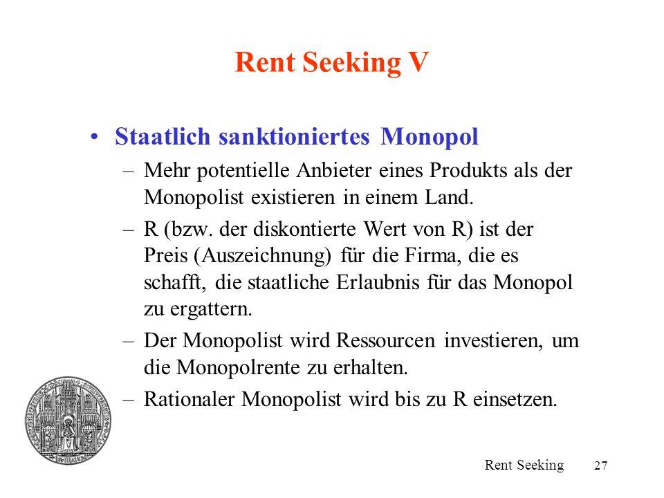 27 Rent Seeking V Staatlich sanktioniertes Monopol –Mehr potentielle Anbieter eines Produkts als der Monopolist existieren in einem Land. –R (bzw. der