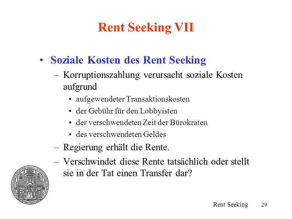 29 Rent Seeking VII Soziale Kosten des Rent Seeking –Korruptionszahlung verursacht soziale Kosten aufgrund aufgewendeter Transaktionskosten der Gebühr