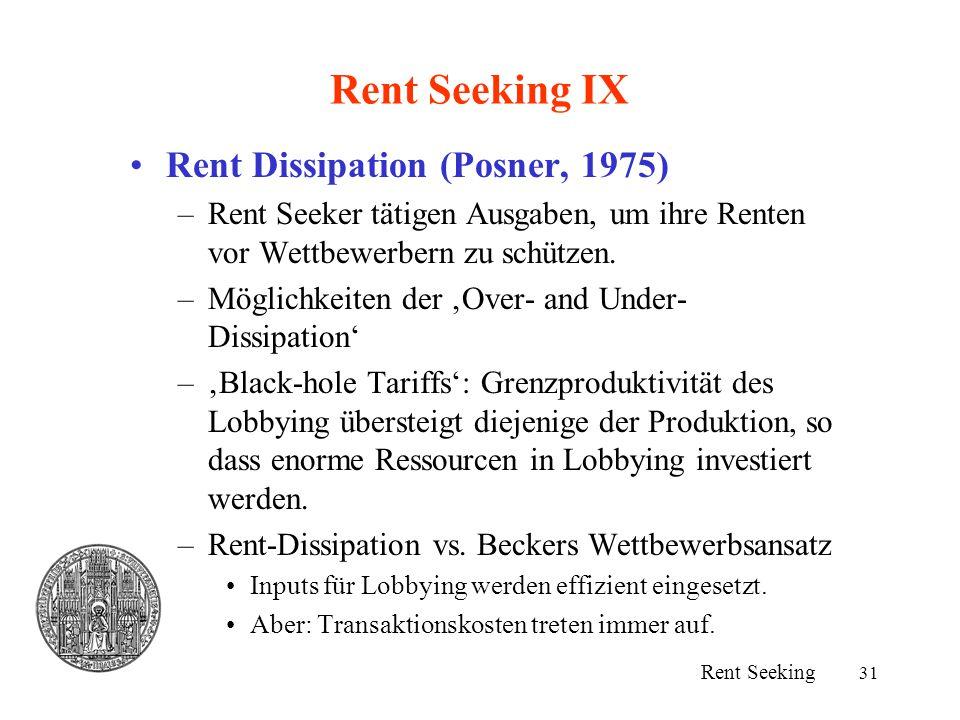 31 Rent Seeking IX Rent Dissipation (Posner, 1975) –Rent Seeker tätigen Ausgaben, um ihre Renten vor Wettbewerbern zu schützen. –Möglichkeiten der 'Ov