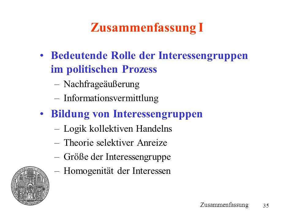 35 Zusammenfassung I Bedeutende Rolle der Interessengruppen im politischen Prozess –Nachfrageäußerung –Informationsvermittlung Bildung von Interesseng