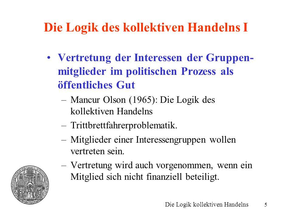 5 Die Logik des kollektiven Handelns I Vertretung der Interessen der Gruppen- mitglieder im politischen Prozess als öffentliches Gut –Mancur Olson (19