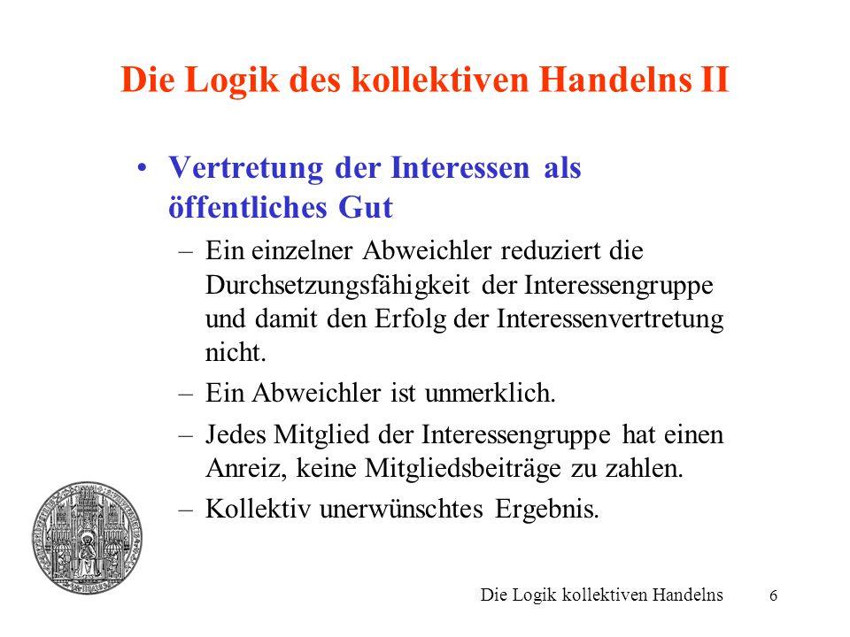 7 Die Logik des kollektiven Handelns III Historisch: Problemlösung über Zwang –Bsp.: Streikposten.