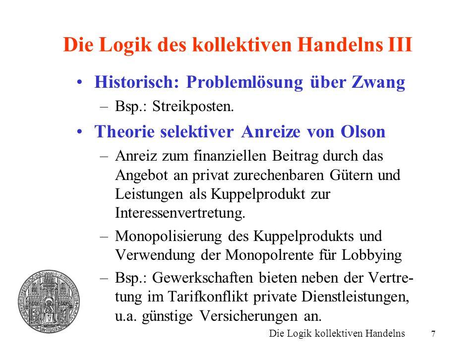 7 Die Logik des kollektiven Handelns III Historisch: Problemlösung über Zwang –Bsp.: Streikposten. Theorie selektiver Anreize von Olson –Anreiz zum fi