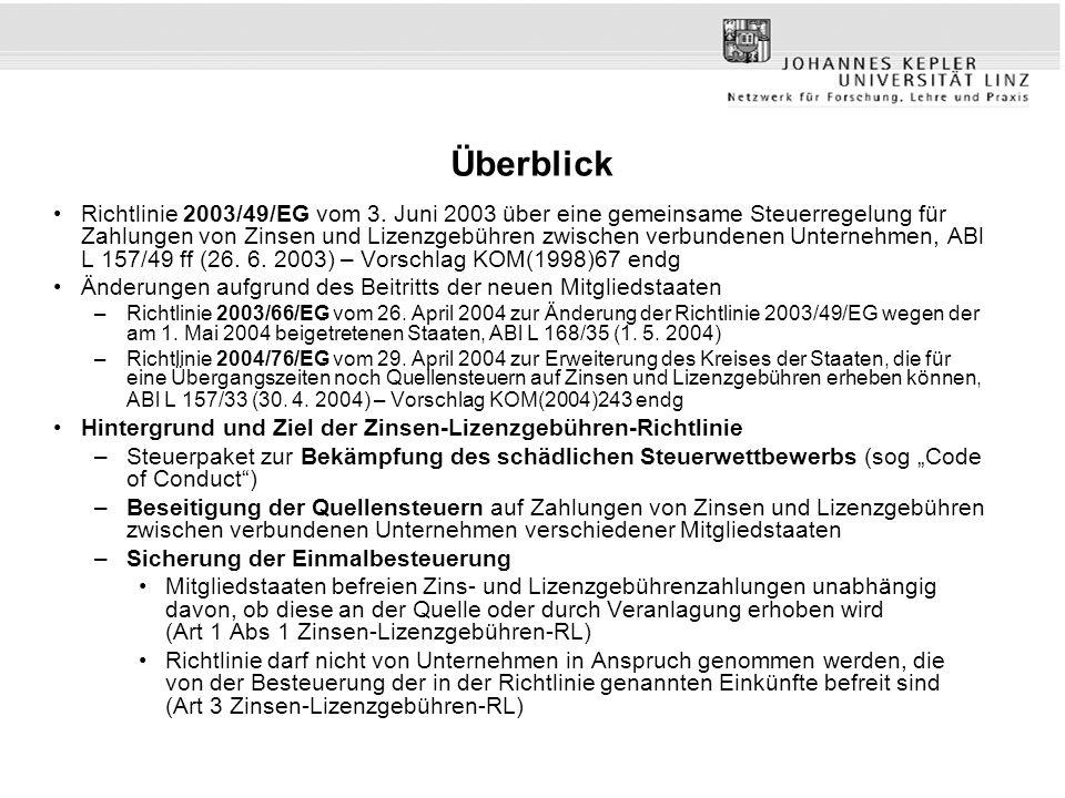 Überblick Richtlinie 2003/49/EG vom 3. Juni 2003 über eine gemeinsame Steuerregelung für Zahlungen von Zinsen und Lizenzgebühren zwischen verbundenen