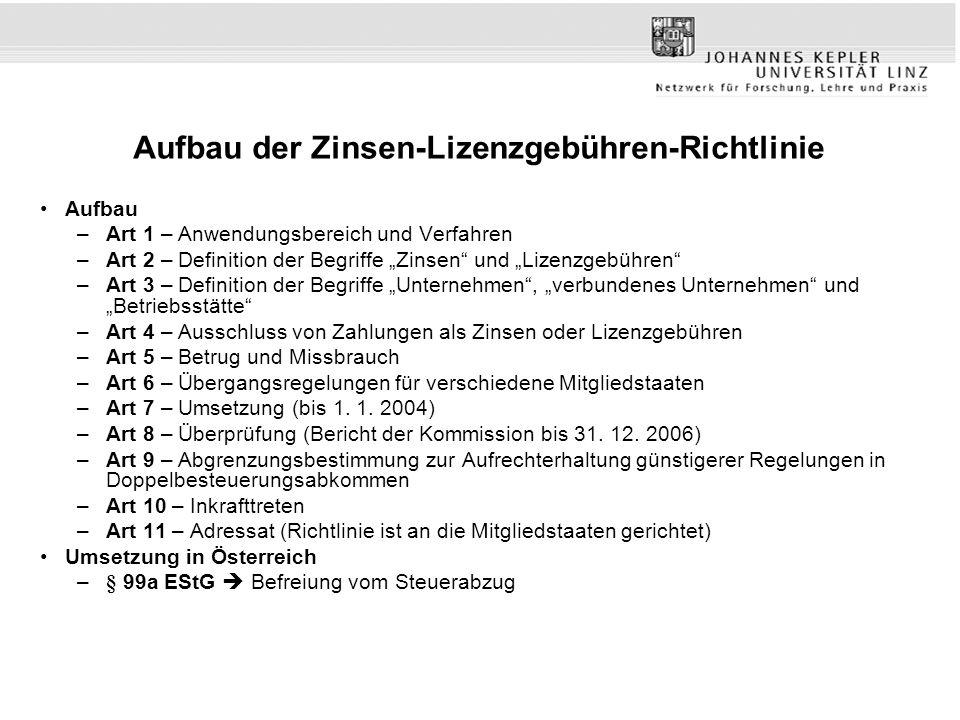 """Aufbau der Zinsen-Lizenzgebühren-Richtlinie Aufbau –Art 1 – Anwendungsbereich und Verfahren –Art 2 – Definition der Begriffe """"Zinsen"""" und """"Lizenzgebüh"""