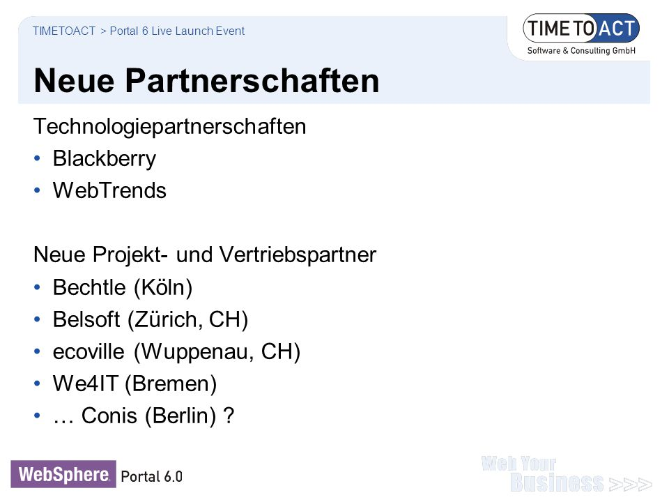 Neue Partnerschaften Technologiepartnerschaften Blackberry WebTrends Neue Projekt- und Vertriebspartner Bechtle (Köln) Belsoft (Zürich, CH) ecoville (