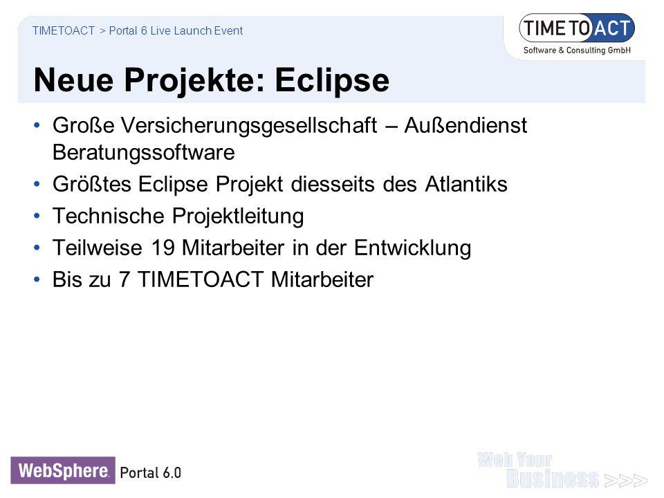 Neue Projekte: Eclipse Große Versicherungsgesellschaft – Außendienst Beratungssoftware Größtes Eclipse Projekt diesseits des Atlantiks Technische Proj