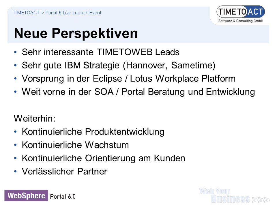 Neue Perspektiven Sehr interessante TIMETOWEB Leads Sehr gute IBM Strategie (Hannover, Sametime) Vorsprung in der Eclipse / Lotus Workplace Platform W