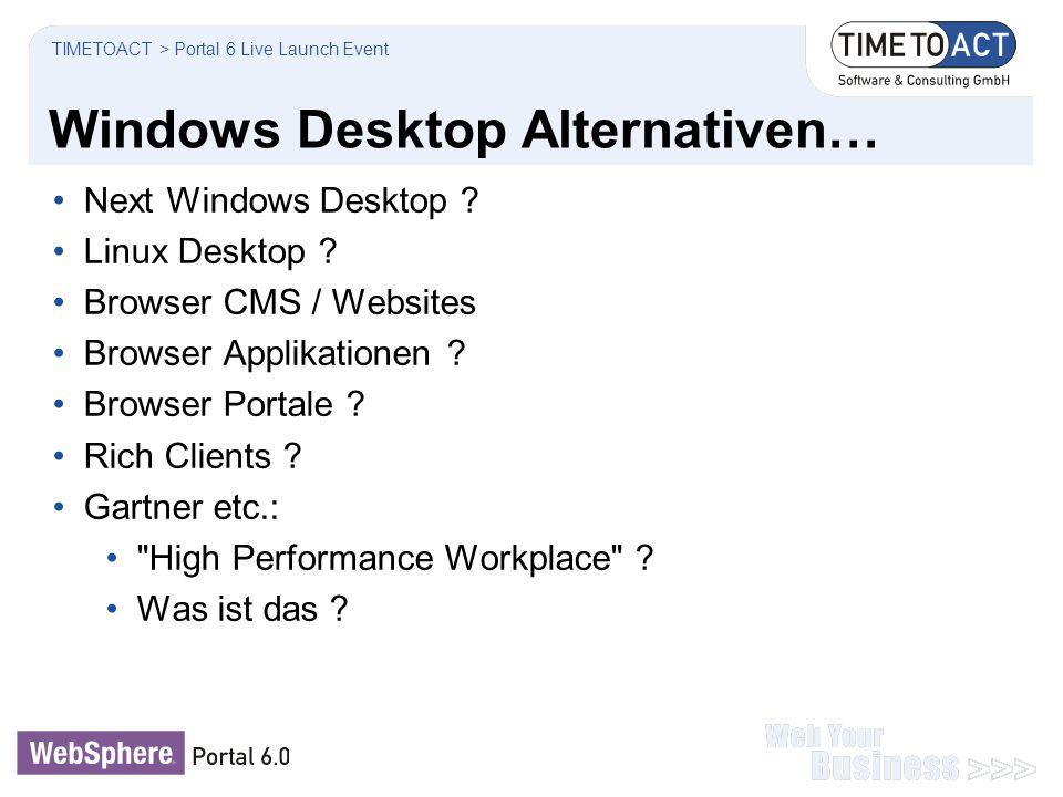 Windows Desktop Alternativen… Next Windows Desktop ? Linux Desktop ? Browser CMS / Websites Browser Applikationen ? Browser Portale ? Rich Clients ? G