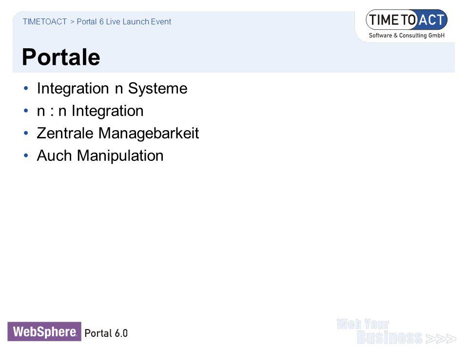 Portale Integration n Systeme n : n Integration Zentrale Managebarkeit Auch Manipulation TIMETOACT > Portal 6 Live Launch Event