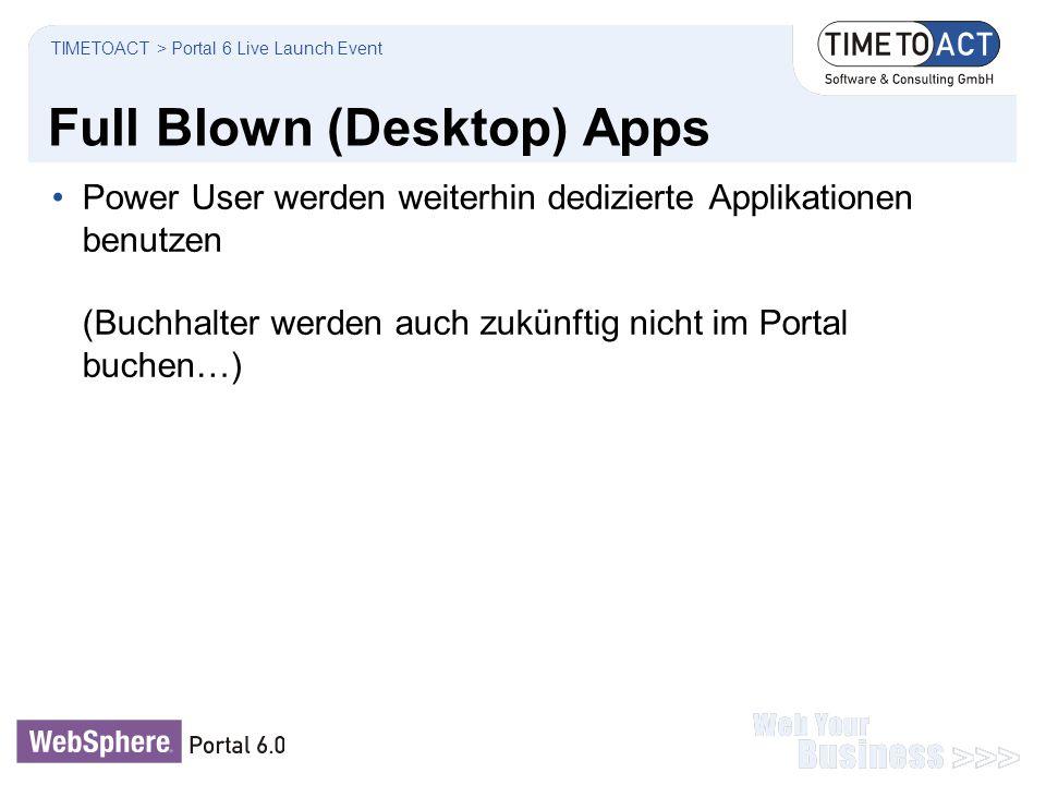 Full Blown (Desktop) Apps Power User werden weiterhin dedizierte Applikationen benutzen (Buchhalter werden auch zukünftig nicht im Portal buchen…) TIM