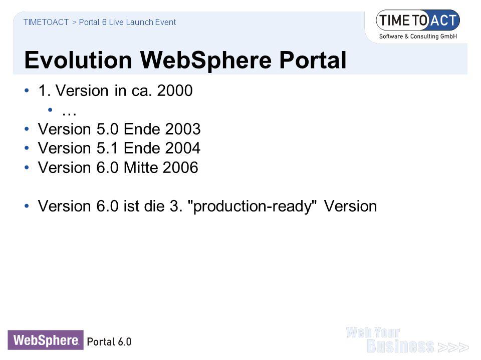 Evolution WebSphere Portal 1. Version in ca. 2000 … Version 5.0 Ende 2003 Version 5.1 Ende 2004 Version 6.0 Mitte 2006 Version 6.0 ist die 3.