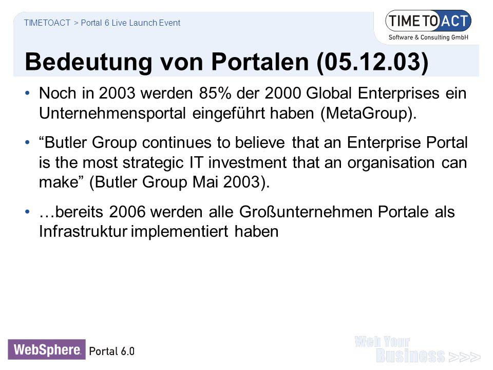 """Bedeutung von Portalen (05.12.03) Noch in 2003 werden 85% der 2000 Global Enterprises ein Unternehmensportal eingeführt haben (MetaGroup). """"Butler Gro"""