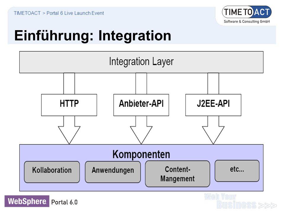 Einführung: Integration TIMETOACT > Portal 6 Live Launch Event