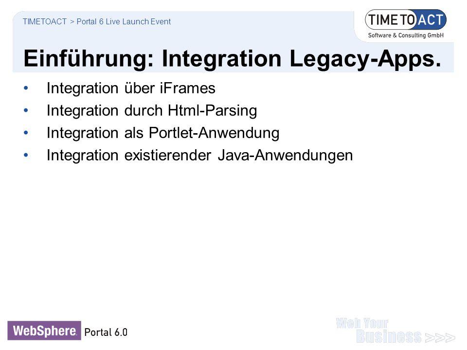 Einführung: Integration Legacy-Apps. TIMETOACT > Portal 6 Live Launch Event Integration über iFrames Integration durch Html-Parsing Integration als Po