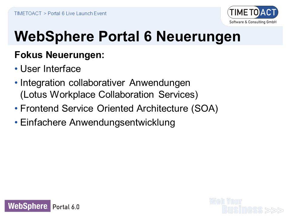 WebSphere Portal 6 Neuerungen TIMETOACT > Portal 6 Live Launch Event Fokus Neuerungen: User Interface Integration collaborativer Anwendungen (Lotus Wo