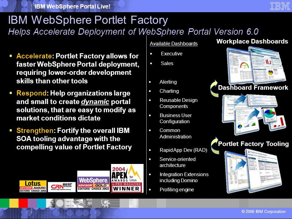 IBM WebSphere Portal Live! © 2006 IBM Corporation Dashboard Framework Workplace Dashboards Portlet Factory Tooling  Accelerate: Portlet Factory allow
