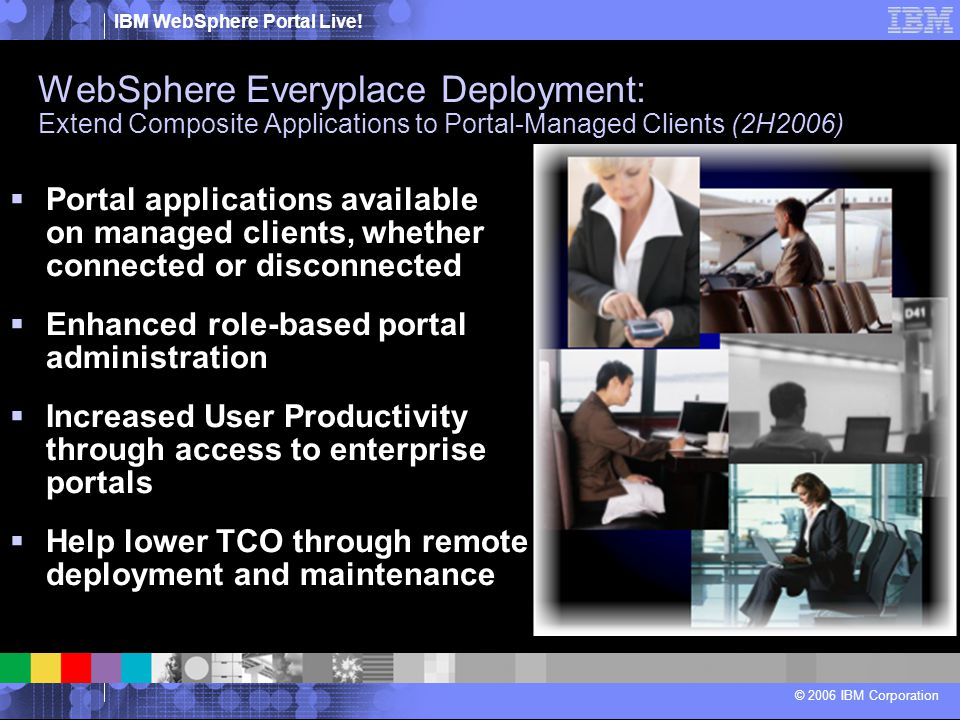 IBM WebSphere Portal Live! © 2006 IBM Corporation  Portal applications available on managed clients, whether connected or disconnected  Enhanced rol