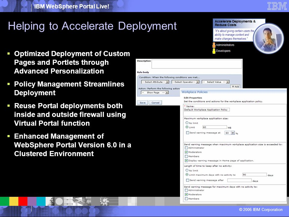 IBM WebSphere Portal Live! © 2006 IBM Corporation Helping to Accelerate Deployment  Optimized Deployment of Custom Pages and Portlets through Advance