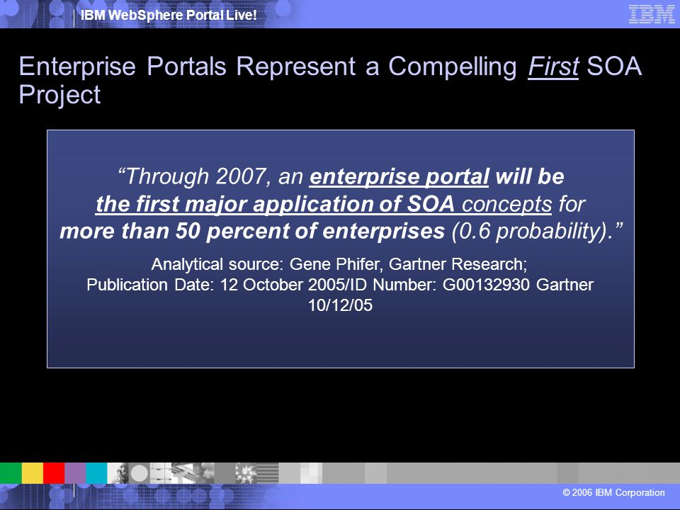 """IBM WebSphere Portal Live! © 2006 IBM Corporation """"Through 2007, an enterprise portal will be the first major application of SOA concepts for more tha"""
