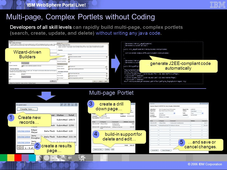 IBM WebSphere Portal Live! © 2006 IBM Corporation Developers of all skill levels can rapidly build multi-page, complex portlets (search, create, updat