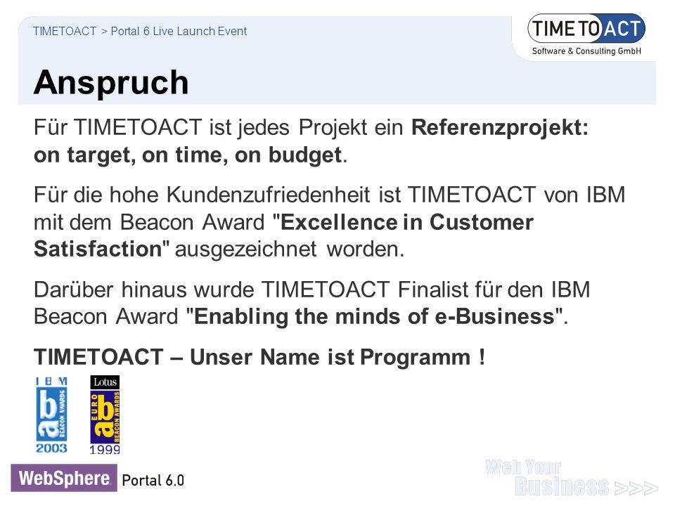 Anspruch Für TIMETOACT ist jedes Projekt ein Referenzprojekt: on target, on time, on budget. Für die hohe Kundenzufriedenheit ist TIMETOACT von IBM mi
