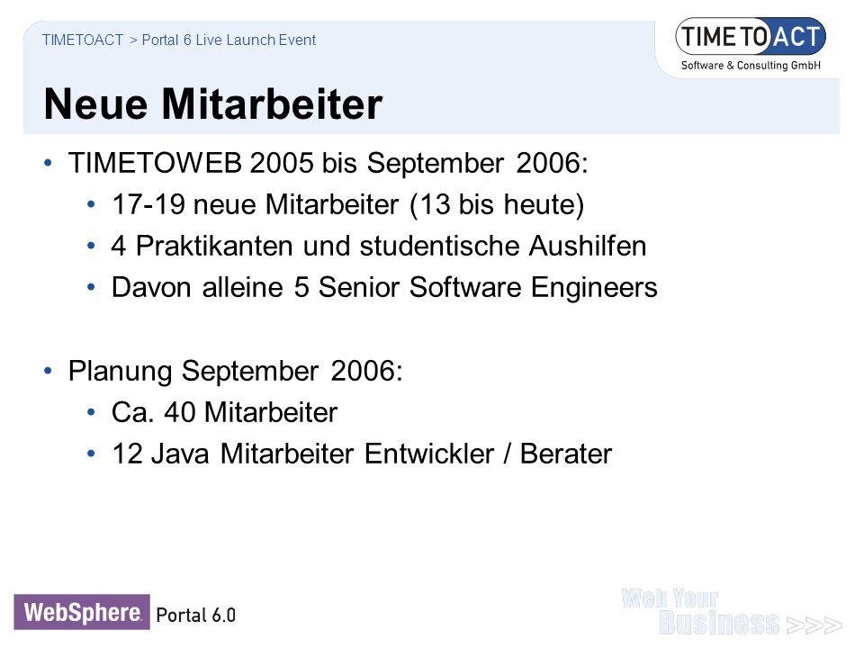 Neue Mitarbeiter TIMETOWEB 2005 bis September 2006: 17-19 neue Mitarbeiter (13 bis heute) 4 Praktikanten und studentische Aushilfen Davon alleine 5 Se