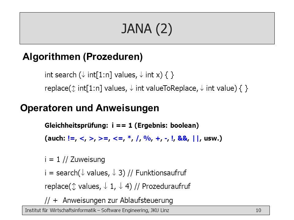 Institut für Wirtschaftsinformatik – Software Engineering, JKU Linz 10 JANA (2) Algorithmen (Prozeduren) Gleichheitsprüfung: i == 1 (Ergebnis: boolean) (auch: !=,, >=, <=, *, /, %, +, -, !, &&, ||, usw.) i = 1 // Zuweisung i = search(  values,  3) // Funktionsaufruf replace(  values,  1,  4) // Prozeduraufruf // + Anweisungen zur Ablaufsteuerung Operatoren und Anweisungen int search (  int[1:n] values,  int x) { } replace(  int[1:n] values,  int valueToReplace,  int value) { }