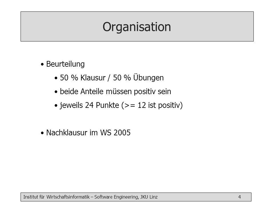 Institut für Wirtschaftsinformatik – Software Engineering, JKU Linz 4 Beurteilung 50 % Klausur / 50 % Übungen beide Anteile müssen positiv sein jeweils 24 Punkte (>= 12 ist positiv) Nachklausur im WS 2005 Organisation