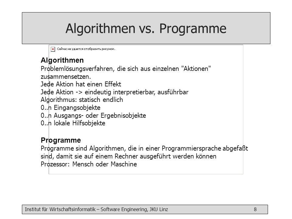 Institut für Wirtschaftsinformatik – Software Engineering, JKU Linz 8 Algorithmen Problemlösungsverfahren, die sich aus einzelnen Aktionen zusammensetzen.