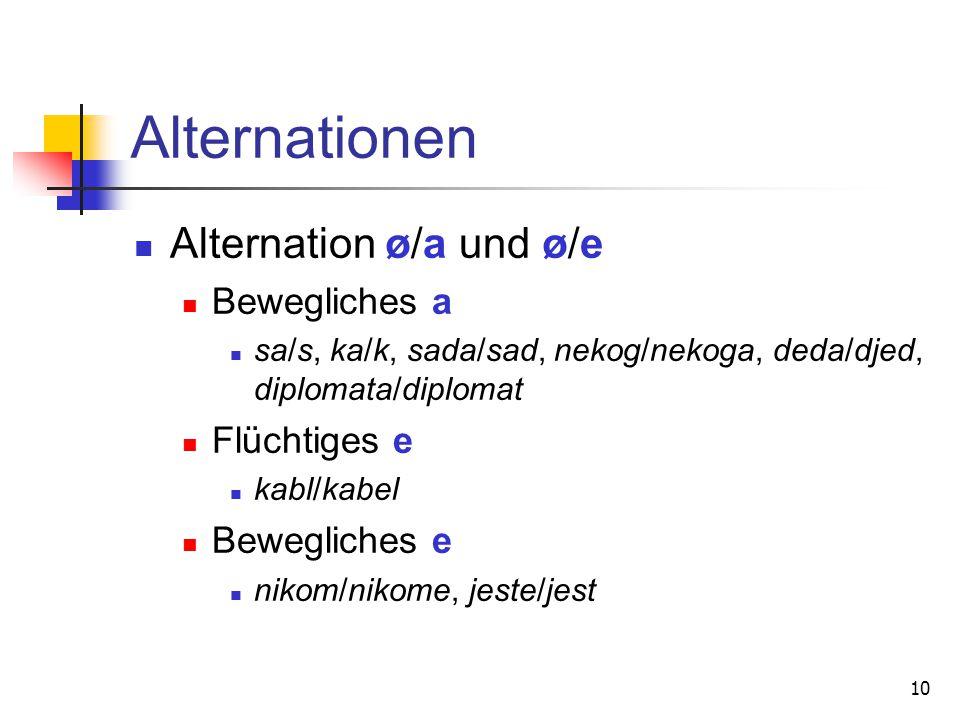 10 Alternationen Alternation ø/a und ø/e Bewegliches a sa/s, ka/k, sada/sad, nekog/nekoga, deda/djed, diplomata/diplomat Flüchtiges e kabl/kabel Beweg