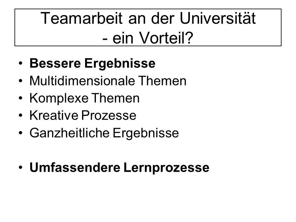 Teamarbeit an der Universität - ein Vorteil.