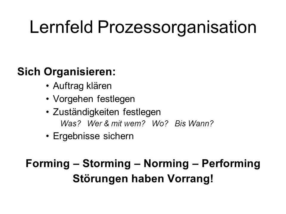 Lernfeld Prozessorganisation Sich Organisieren: Auftrag klären Vorgehen festlegen Zuständigkeiten festlegen Was.