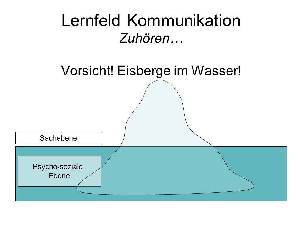 Lernfeld Kommunikation Zuhören… Vorsicht! Eisberge im Wasser! Psycho-soziale Ebene Sachebene