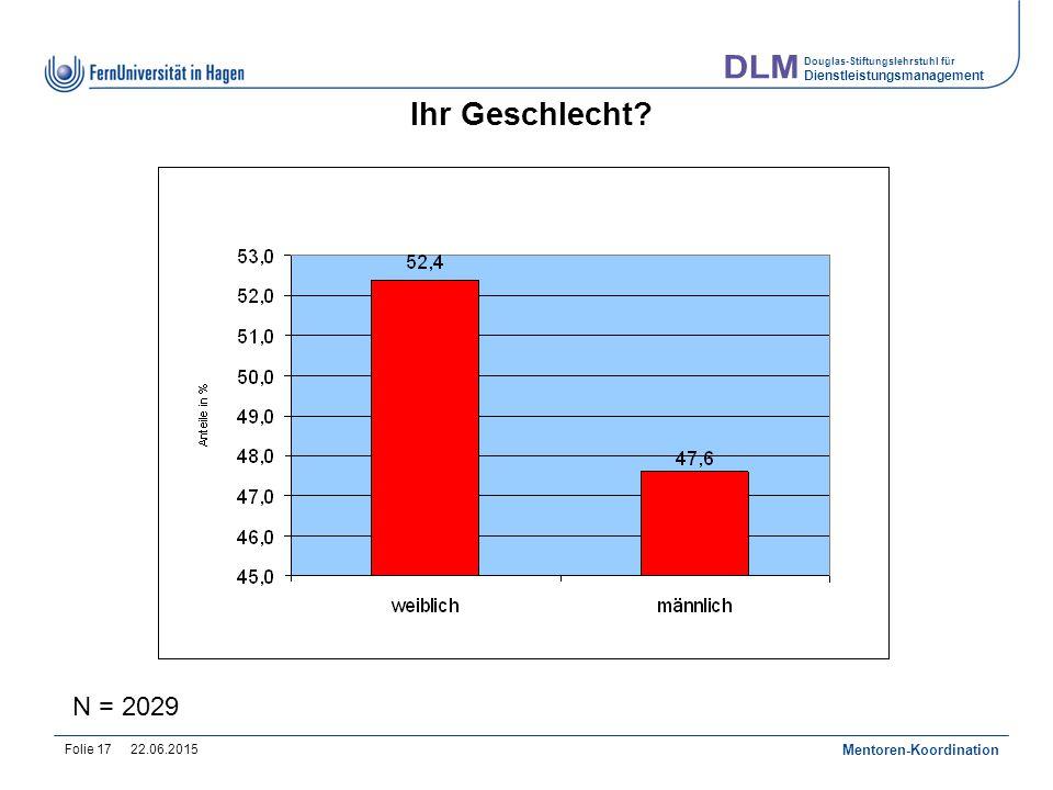 Douglas-Stiftungslehrstuhl für Dienstleistungsmanagement 22.06.2015 Mentoren-Koordination Folie 17 Ihr Geschlecht.