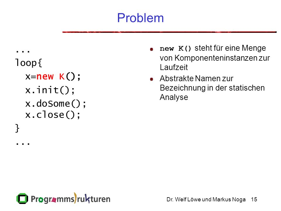 Dr.Welf Löwe und Markus Noga15 Problem... loop{ x=new K(); x.init(); x.doSome(); x.close(); }...