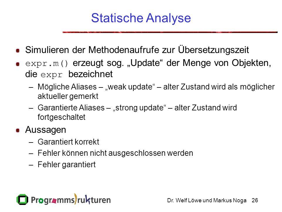 """Dr. Welf Löwe und Markus Noga26 Statische Analyse Simulieren der Methodenaufrufe zur Übersetzungszeit expr.m() erzeugt sog. """"Update"""" der Menge von Obj"""