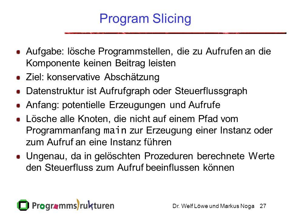 Dr. Welf Löwe und Markus Noga27 Program Slicing Aufgabe: lösche Programmstellen, die zu Aufrufen an die Komponente keinen Beitrag leisten Ziel: konser