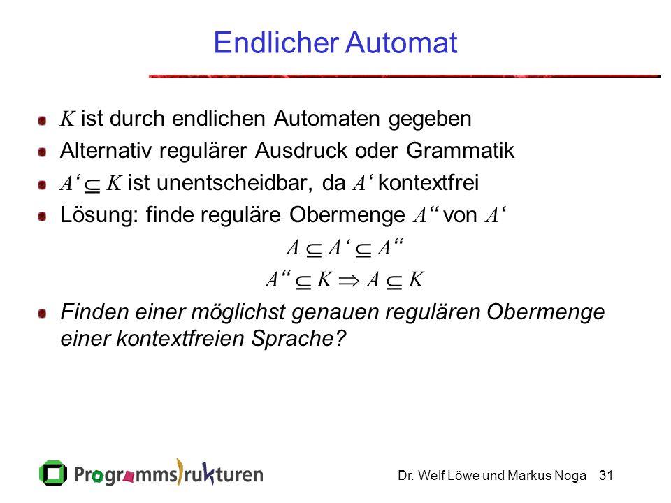 Dr. Welf Löwe und Markus Noga31 Endlicher Automat K ist durch endlichen Automaten gegeben Alternativ regulärer Ausdruck oder Grammatik A '  K ist une