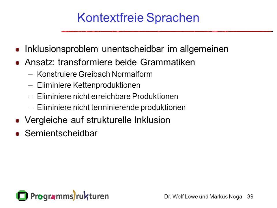Dr. Welf Löwe und Markus Noga39 Kontextfreie Sprachen Inklusionsproblem unentscheidbar im allgemeinen Ansatz: transformiere beide Grammatiken –Konstru