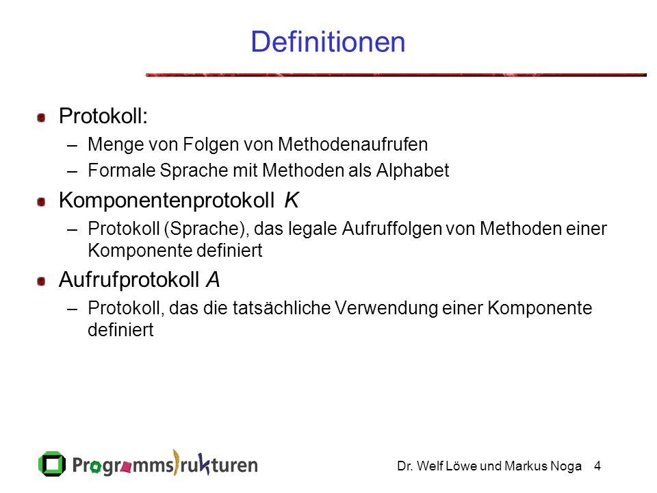 Dr. Welf Löwe und Markus Noga4 Definitionen Protokoll: –Menge von Folgen von Methodenaufrufen –Formale Sprache mit Methoden als Alphabet Komponentenpr