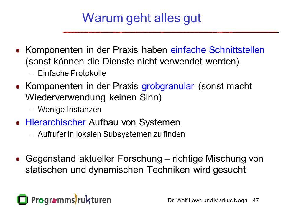 Dr. Welf Löwe und Markus Noga47 Warum geht alles gut Komponenten in der Praxis haben einfache Schnittstellen (sonst können die Dienste nicht verwendet
