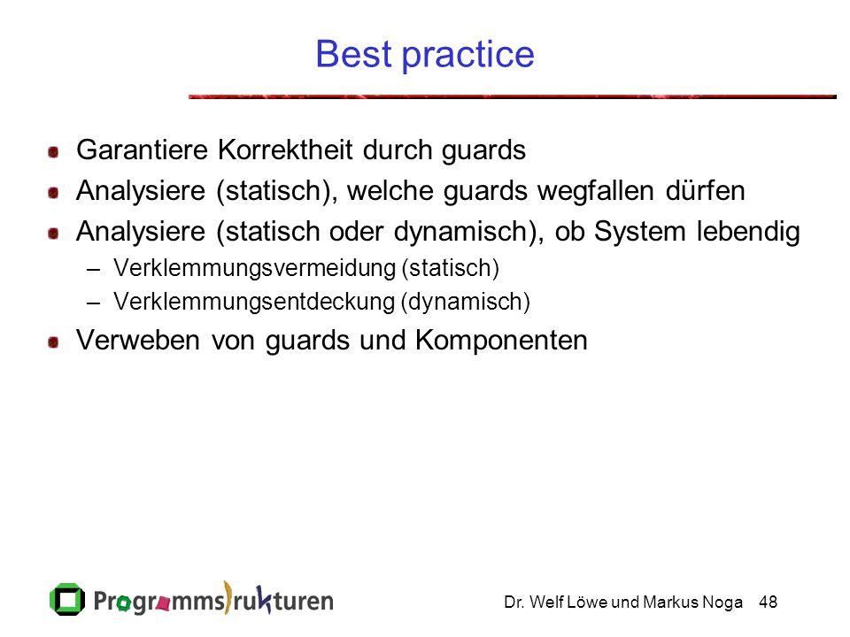 Dr. Welf Löwe und Markus Noga48 Best practice Garantiere Korrektheit durch guards Analysiere (statisch), welche guards wegfallen dürfen Analysiere (st